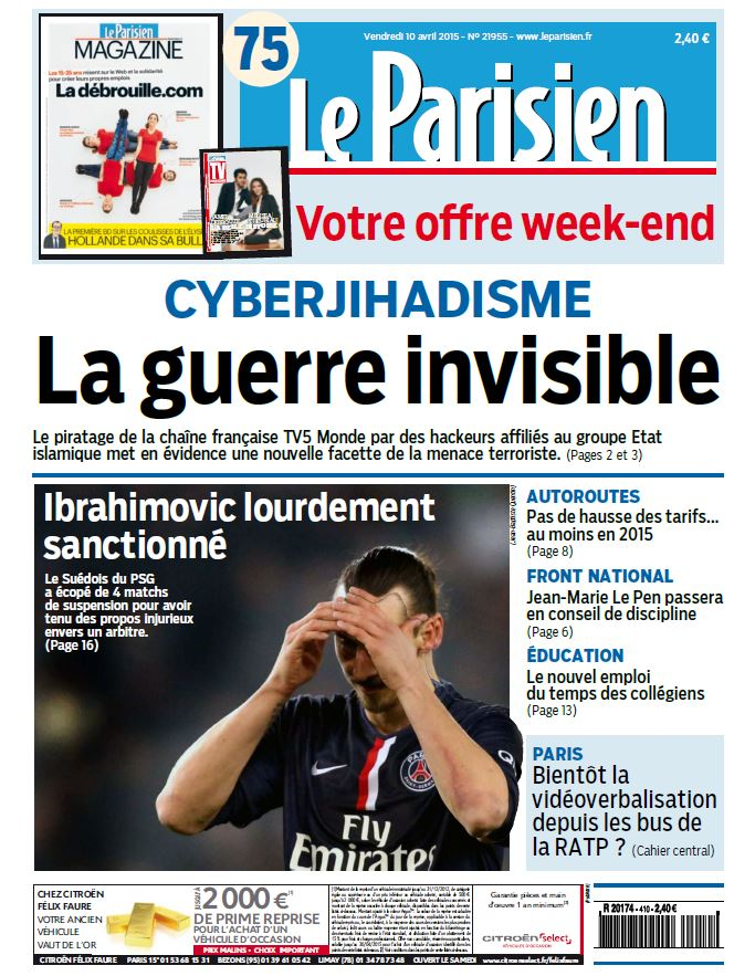 Le Parisien + Journal de Paris du Vendredi 10 Avril 2015 free download