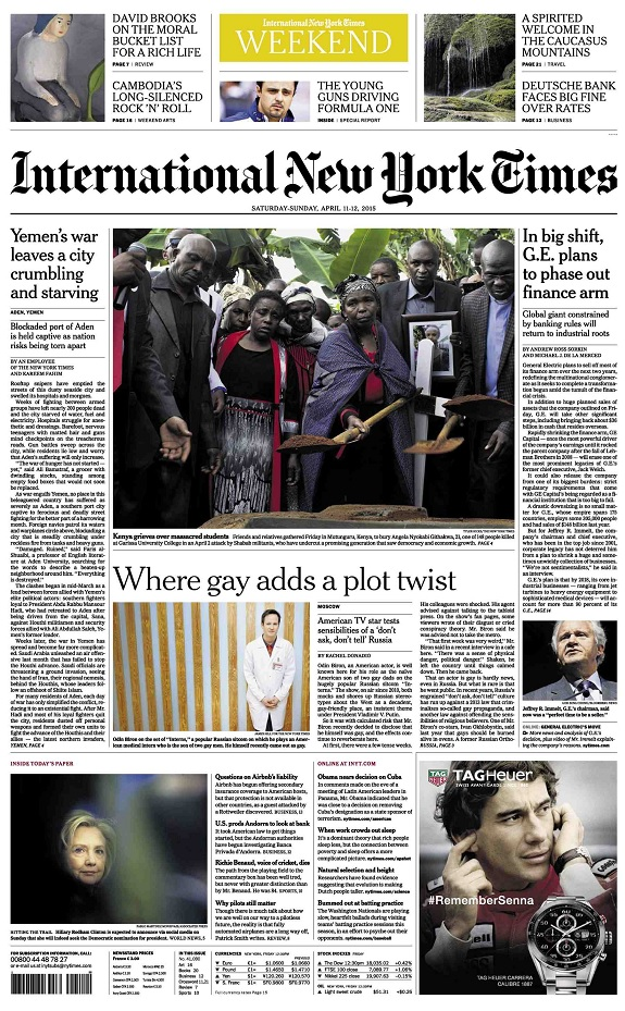 International New York Times - Saturday-Sunday, 11-12 April 2015 free download