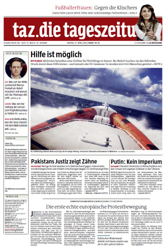 Tageszeitung TAZ vom 17 April 2015 free download