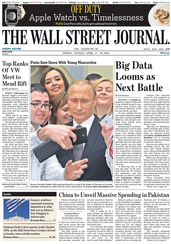 The Wall Street Journal Europe - Friday-Sunday, 17-19 April 2015 free download
