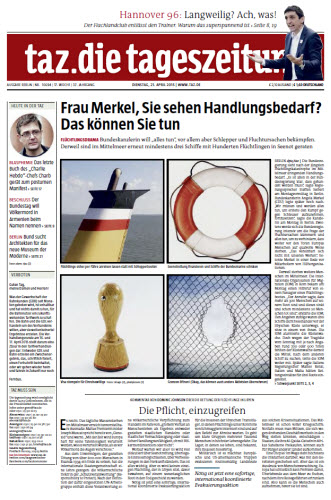 Tageszeitung TAZ vom 21 April 2015 free download