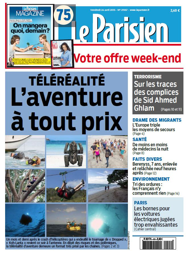 Le Parisien + Journal de Paris du Vendredi 24 Avril 2015 free download
