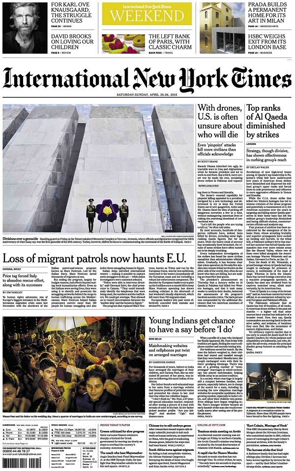 International New York Times - Saturday-Sunday, 25-26 April 2015 free download