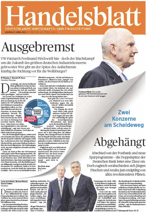 Handelsblatt vom Montag, 27. April 2015 free download