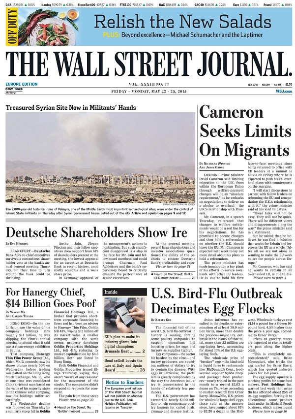 The Wall Street Journal Europe - Friday-Sunday, 22-25 May 2015 free download