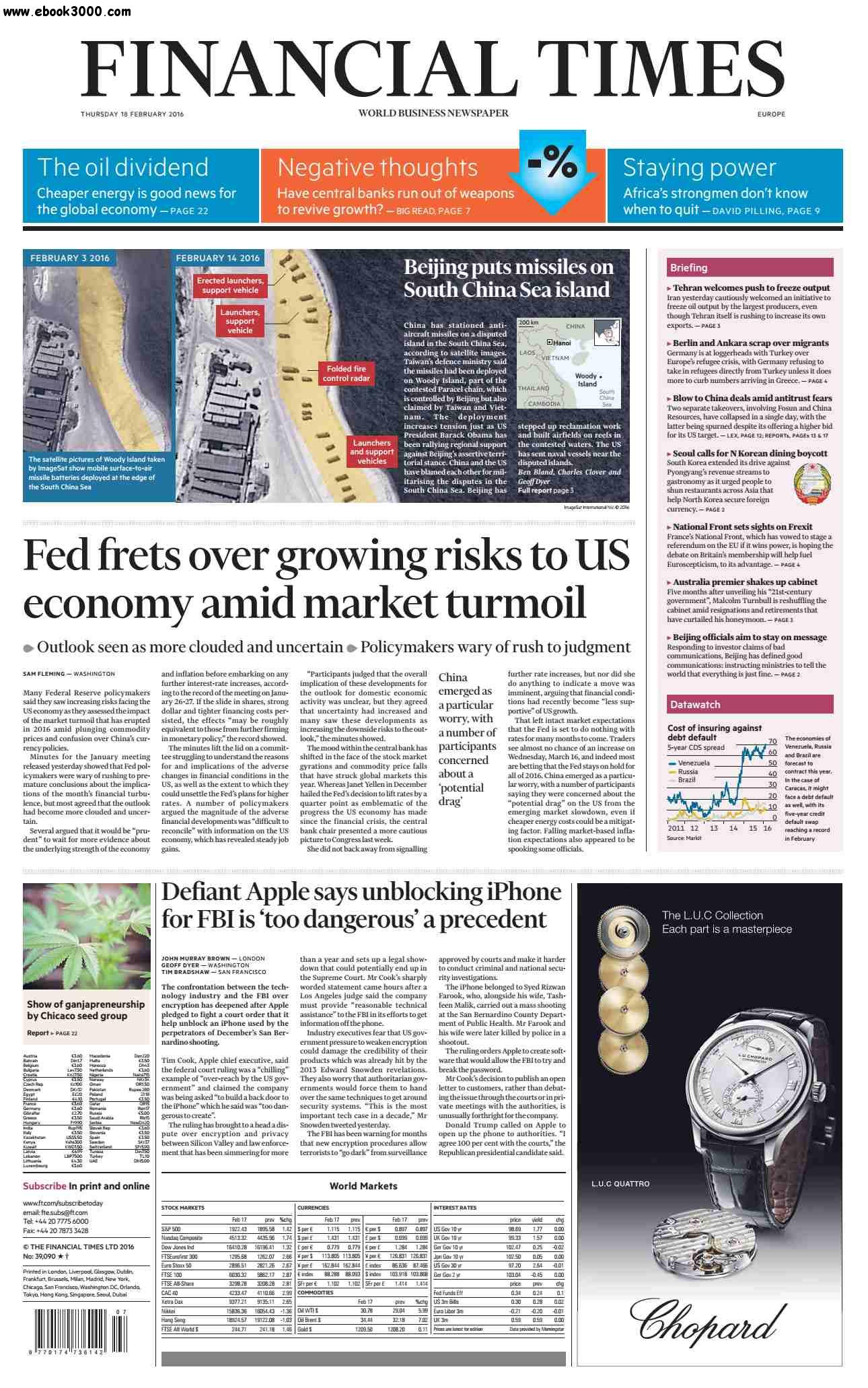 Financial Times Europe  February 18  2016 free download