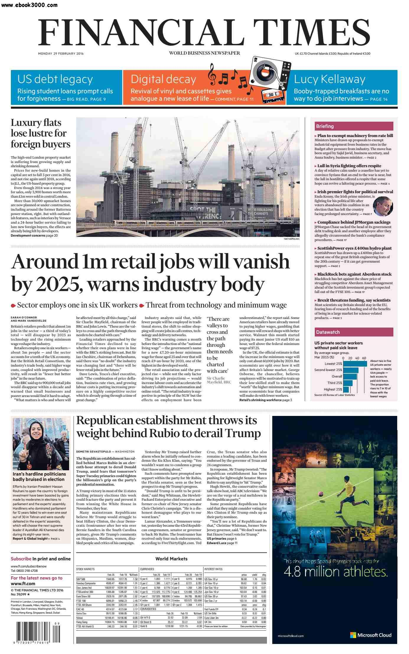 Financial Times UK February 29 2016 free download