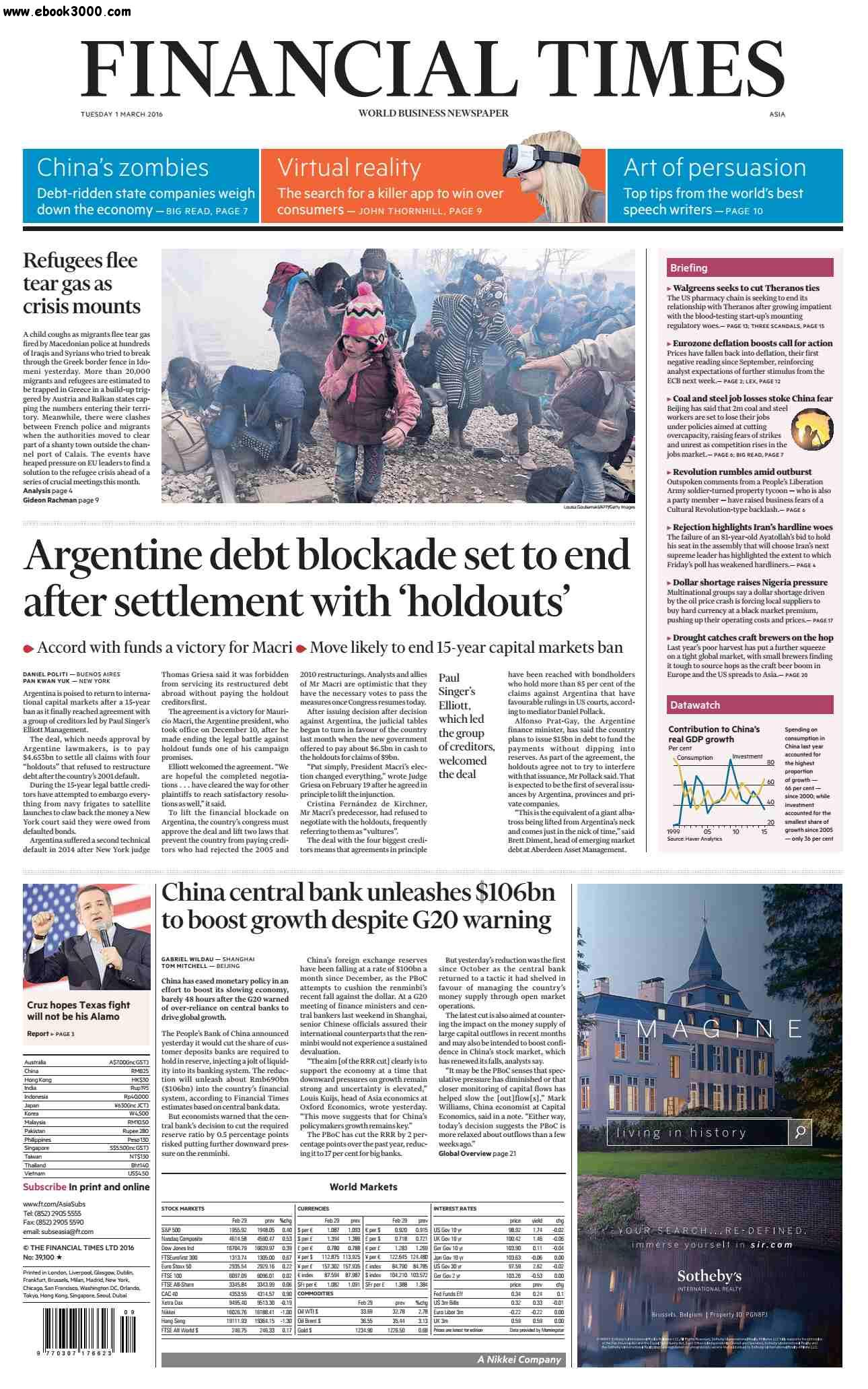 Financial Times Asia March 01 2016 free download