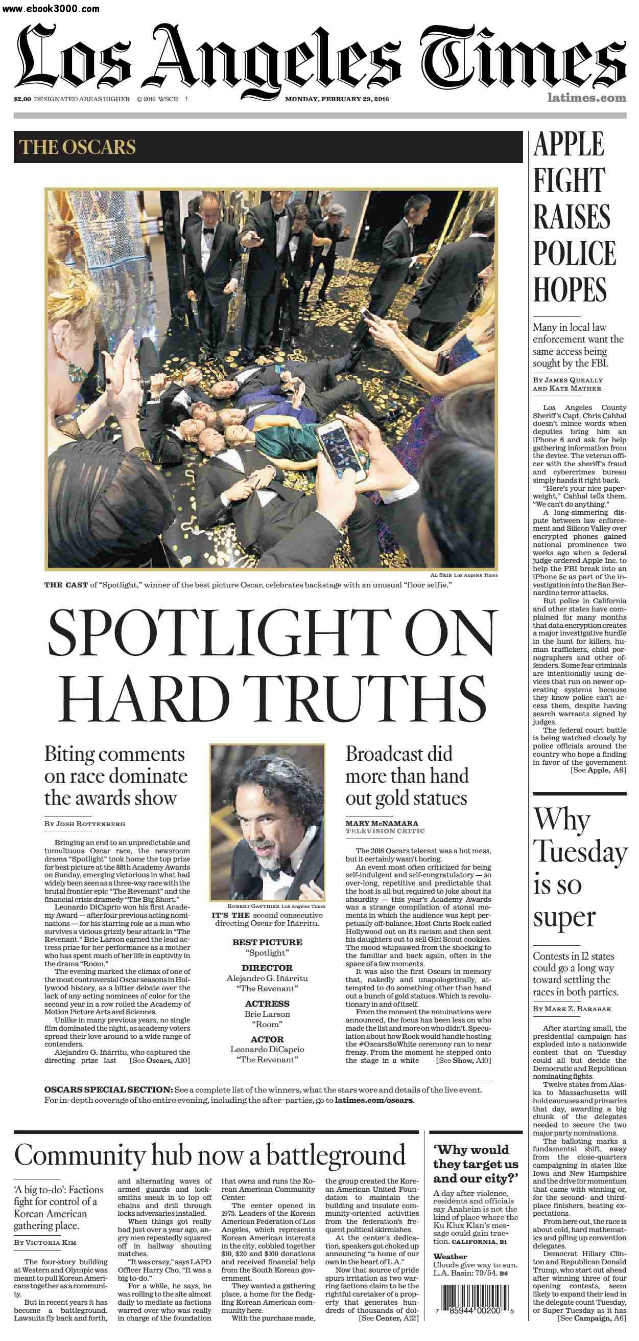 Los Angeles Times February 29, 2016 free download