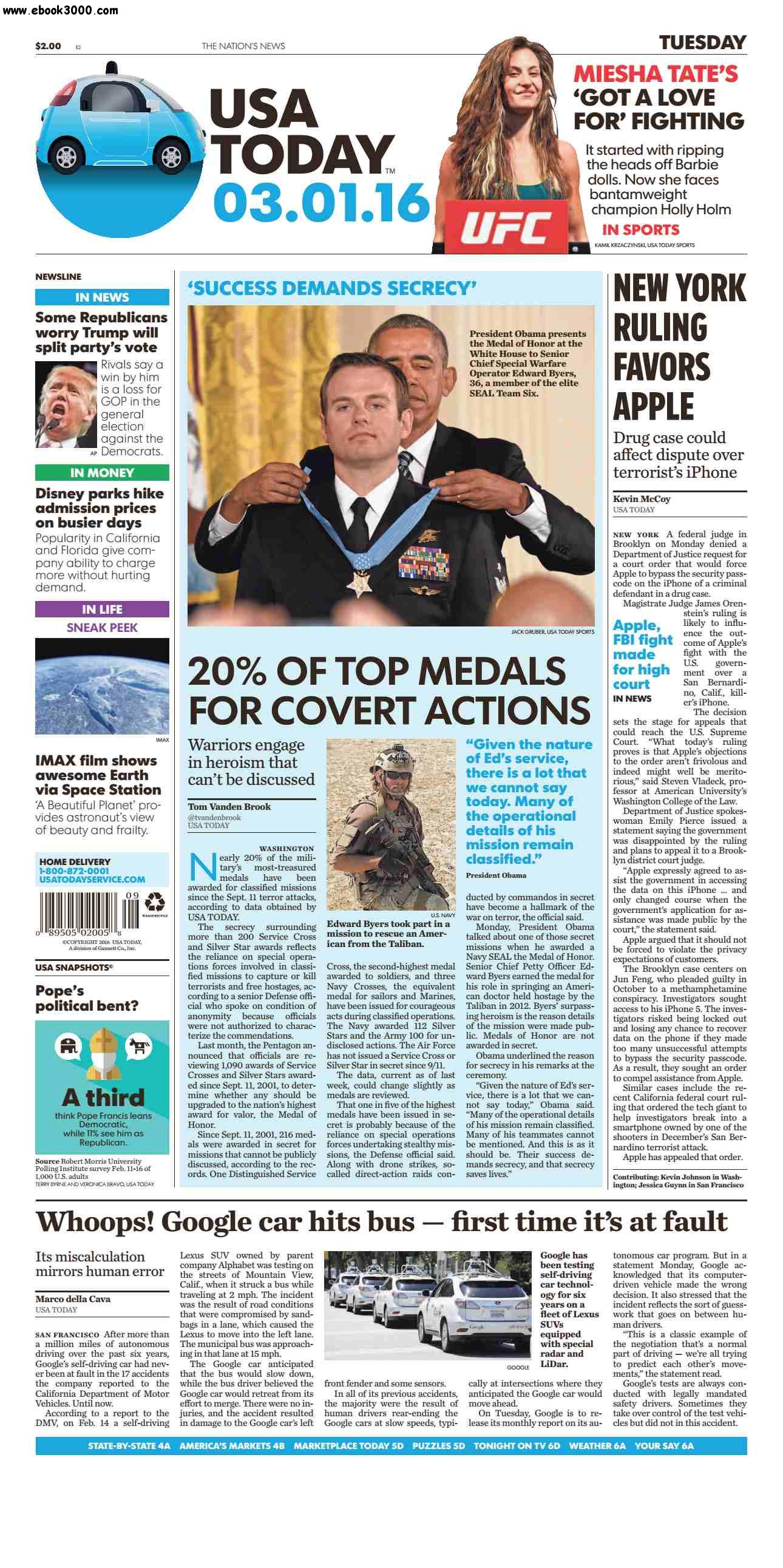 USA Today March 01 2016 free download