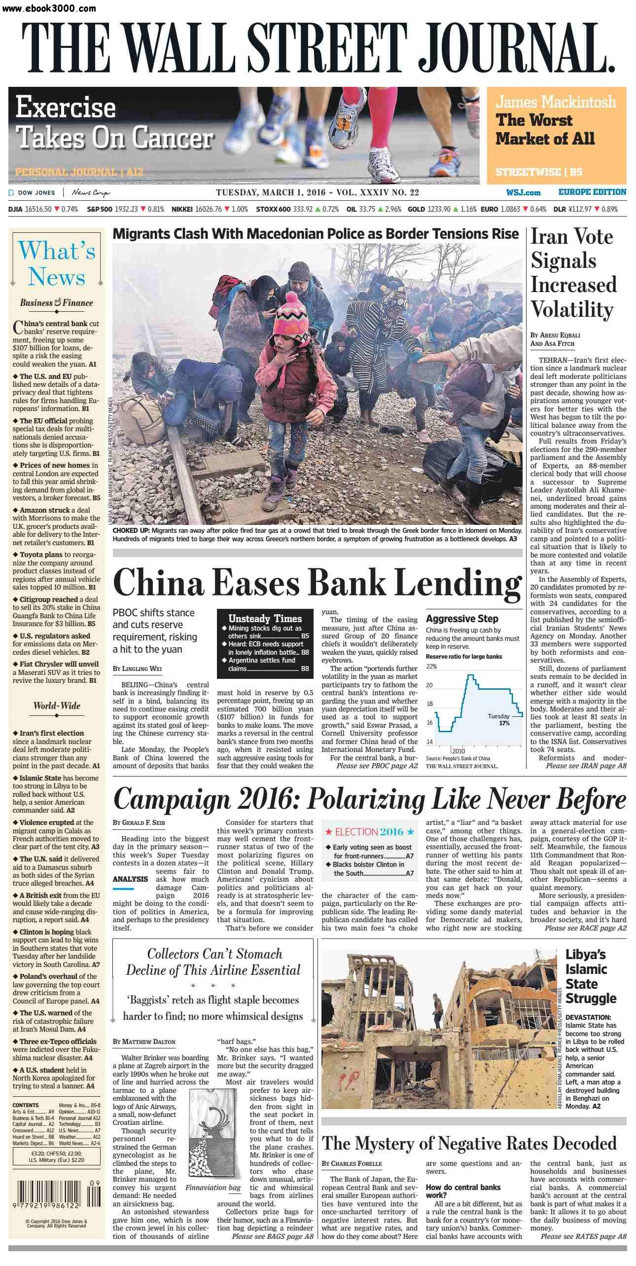 The Wall Street Journal Europe March 01 2016 free download