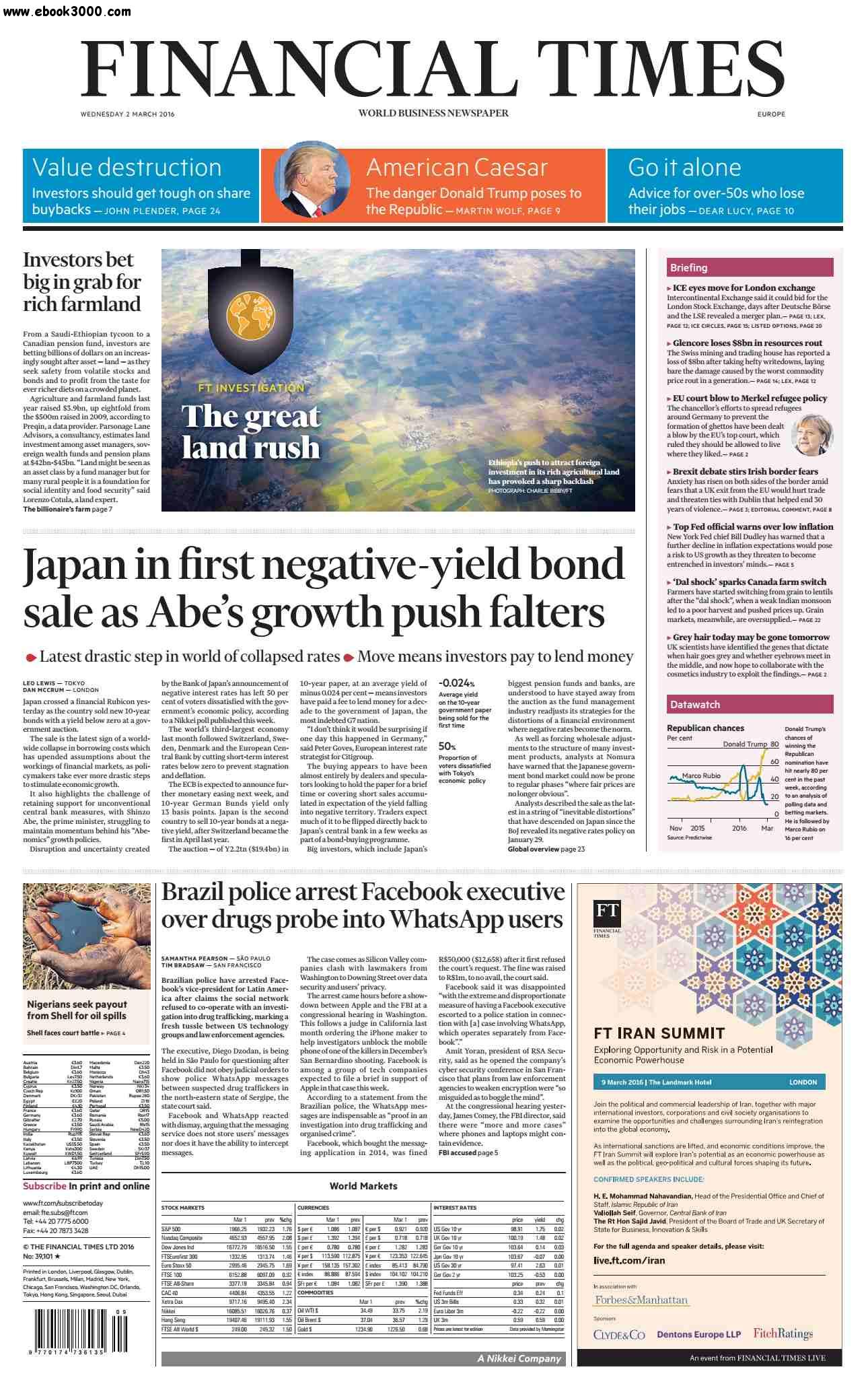 Financial Times Europe March 02 2016 free download