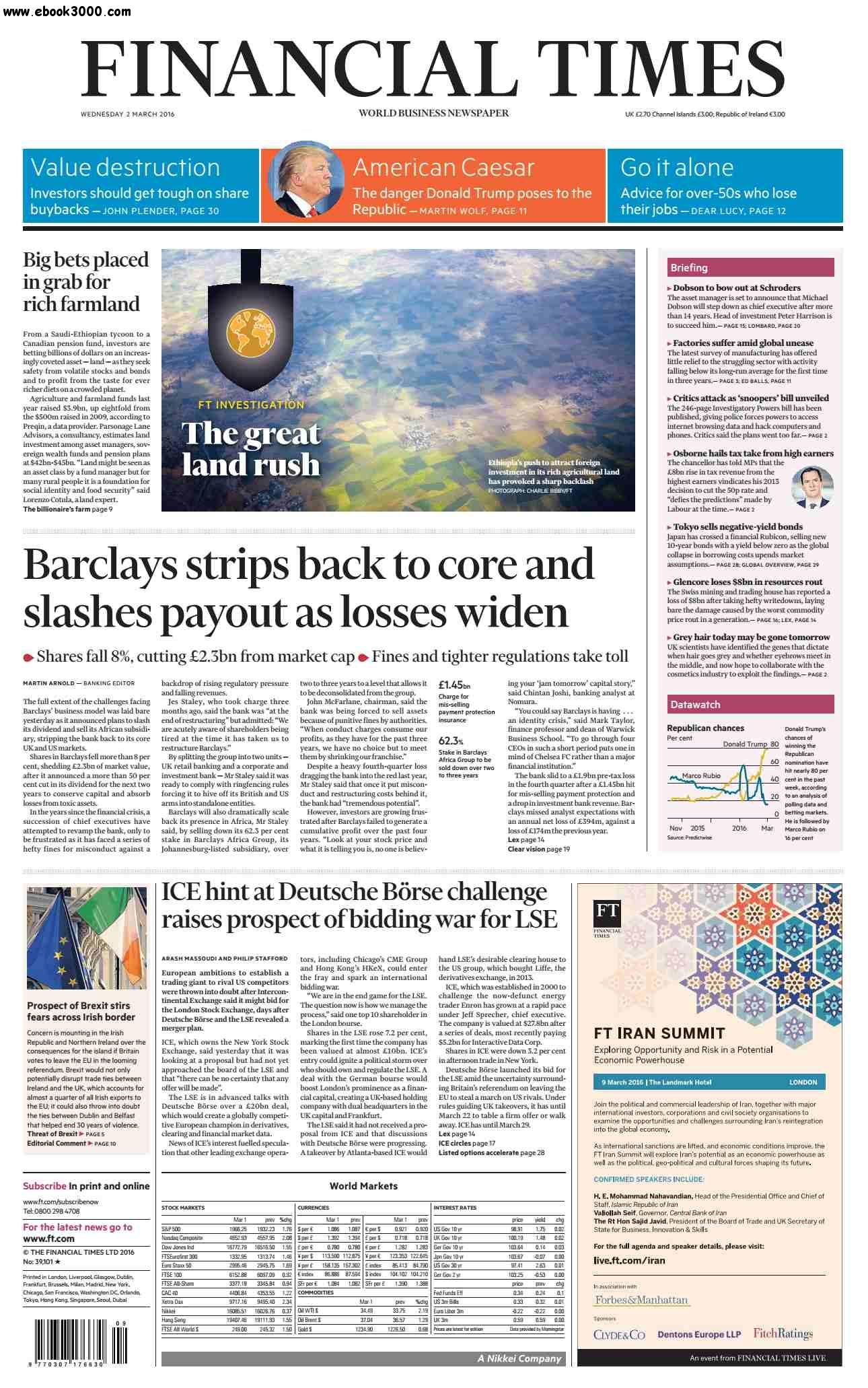 Financial Times UK March 02 2016 free download