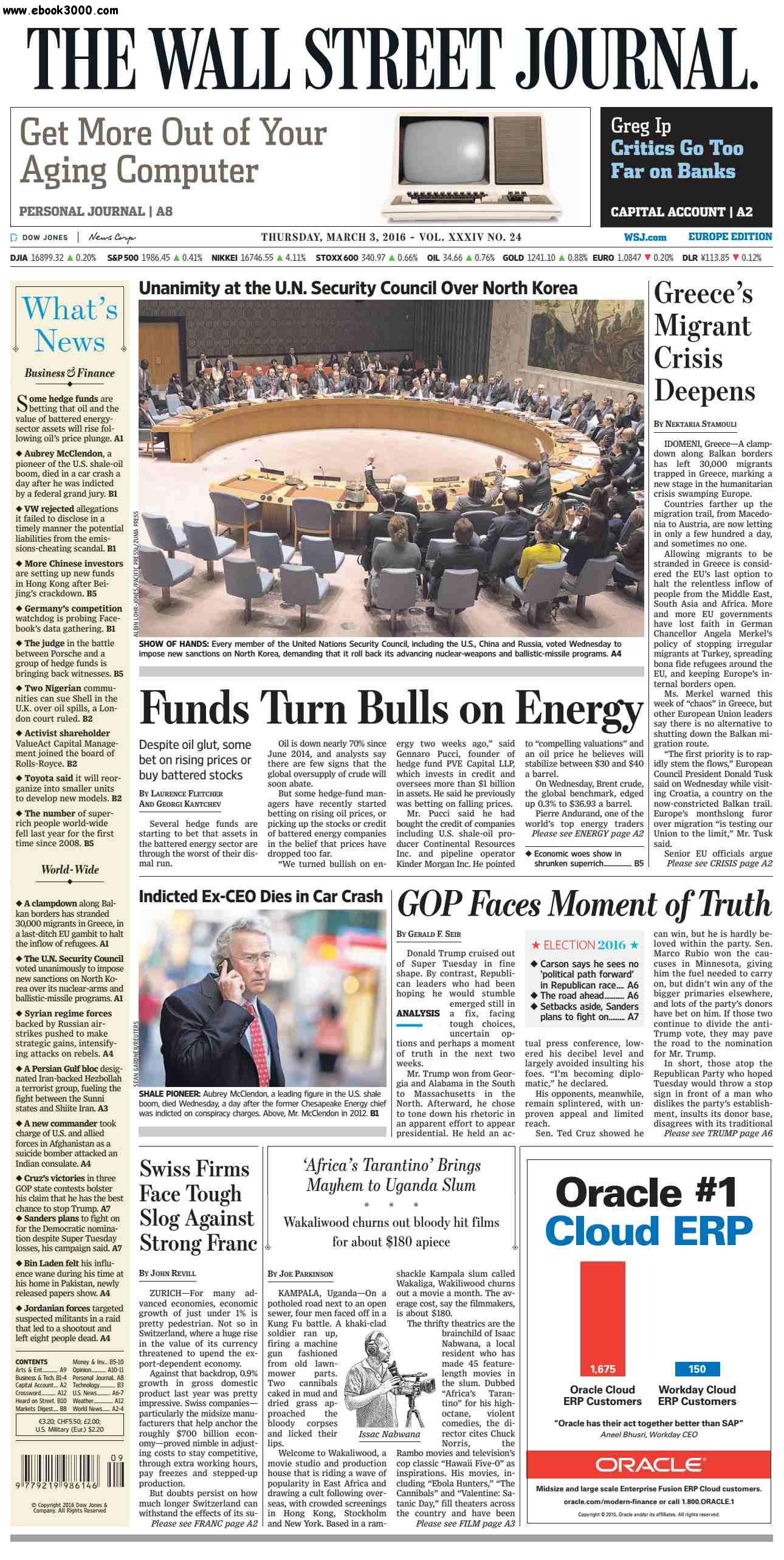 The Wall Street Journal Europe March 03 2016 free download