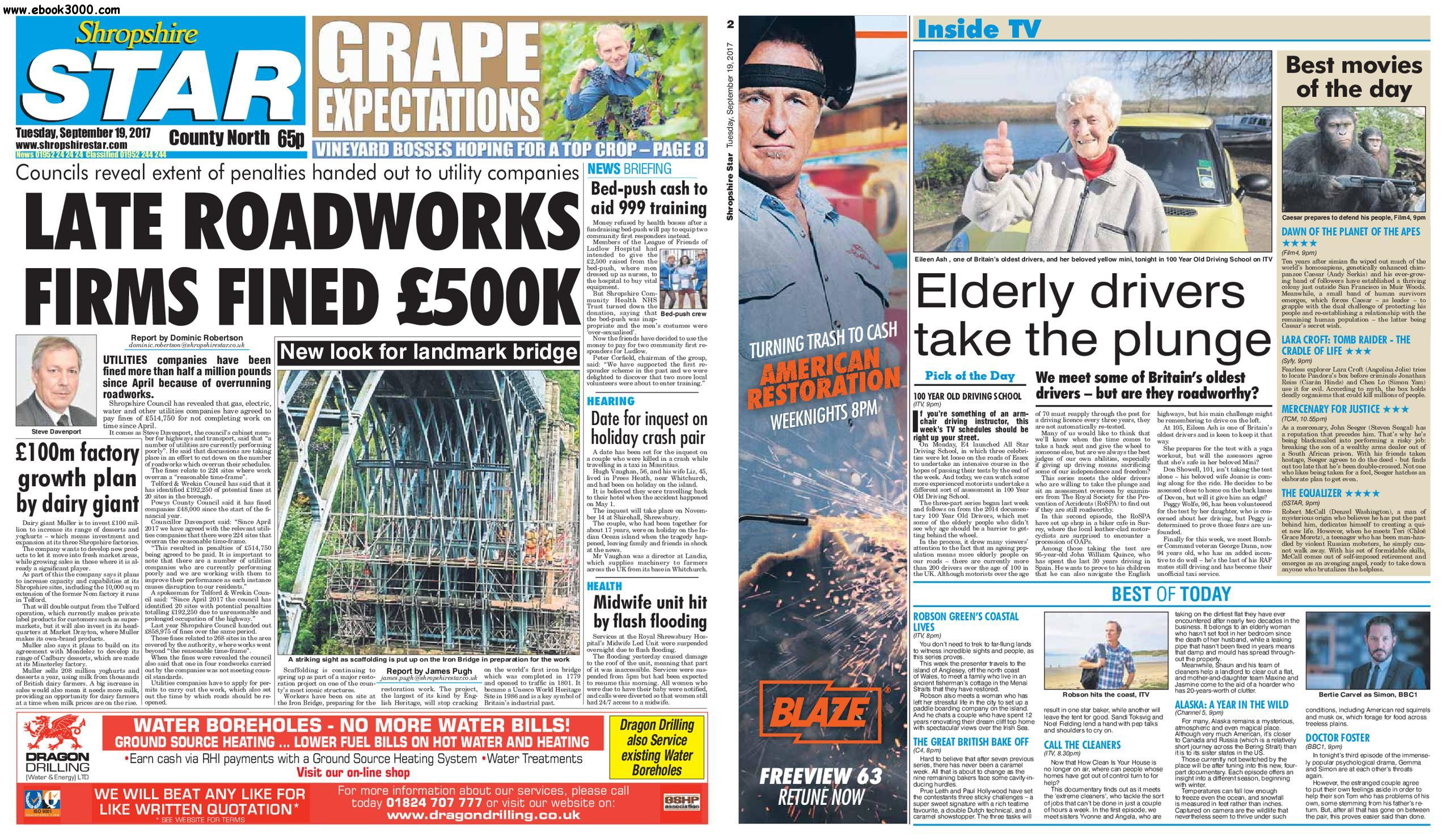 Shropshire Star North County Edition - September 19, 2017