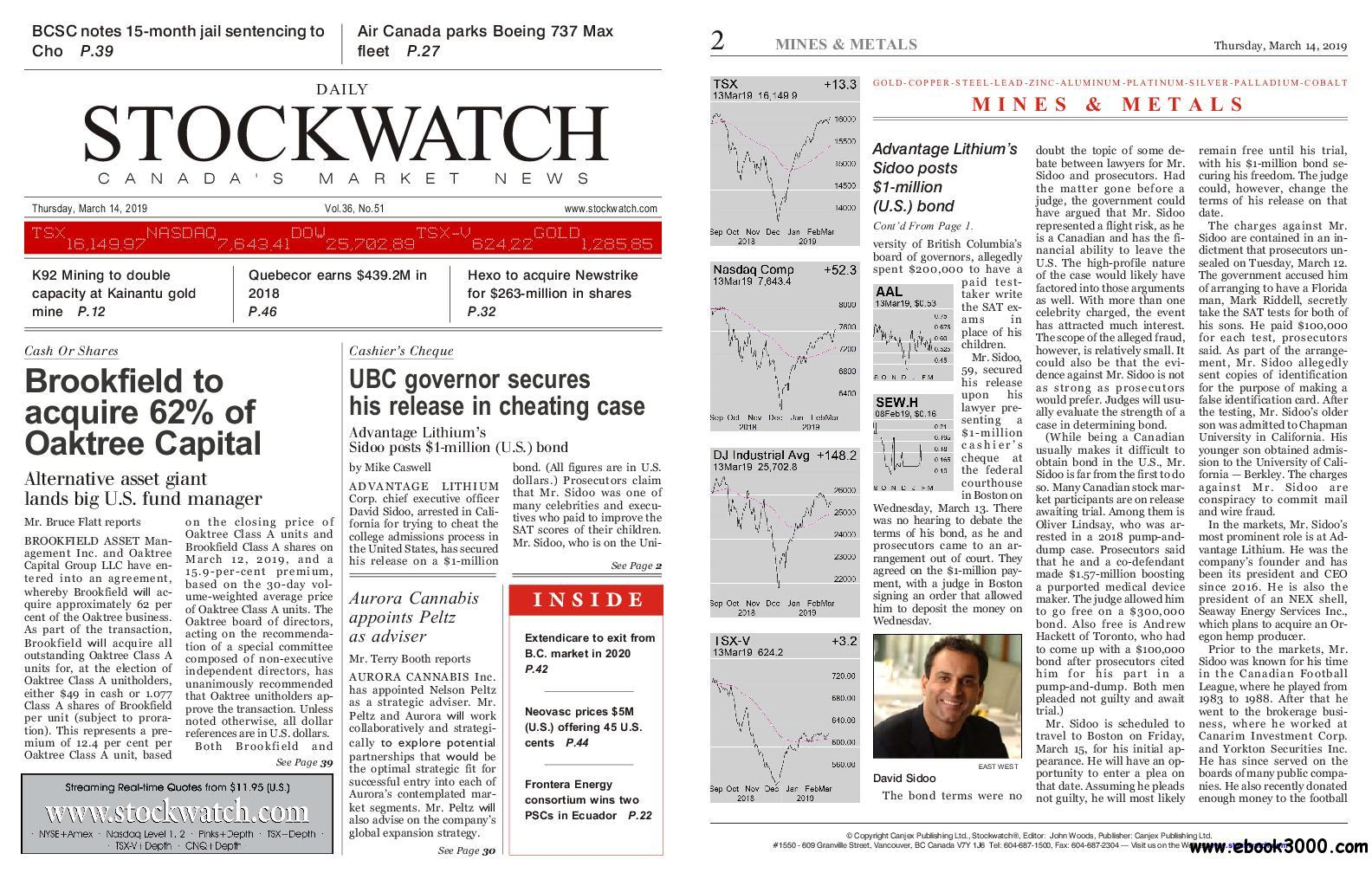 Stockwatch - Canada Daily - March 14, 2019
